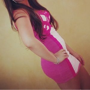 Hot pink bandage dress
