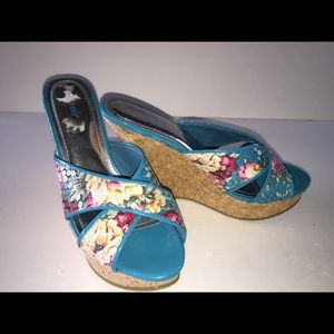 Bamboo Floral Fabric Cork Platform Shoes Size 7