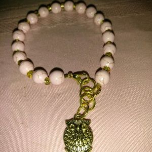 Bracelet pink sinthetic pearls wl gold hardware