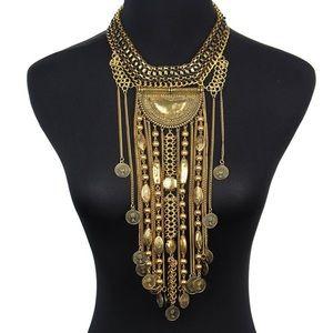 NWOT Gold Boho Chunky Statement Necklace