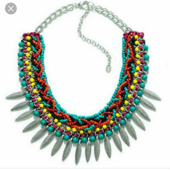 bf80933d8105 Zara Tribal Beaded Collar Necklace