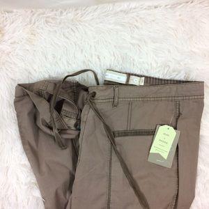 ANTHROPOLOGIE brown NWT draw string capri pants