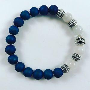 Jewelry - Women blue druzy ,moonstone buddha bracelet