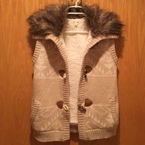 Pink Rose Jackets & Blazers - Faux fur sweater vest