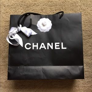 Authentic Chanel shopping bag with ribbon & flower