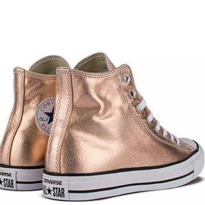 NEW Converse Chuck Taylor Metallic Rose Gold Hi