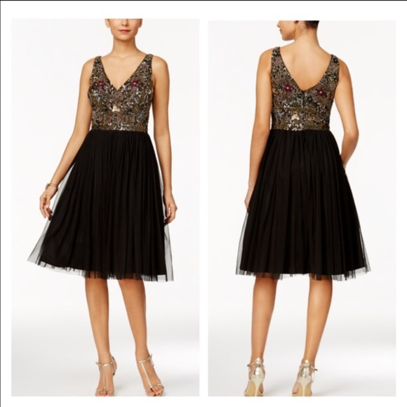 1885a11dc5d Adrianna Papell Embellished Tulle A Line Dress