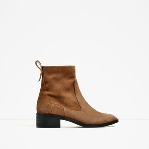 Zara Genuine Leather Flat Boots