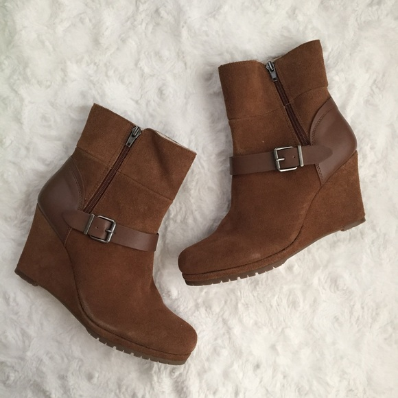 505ee2d88255 Suede Wedge Ankle Boots