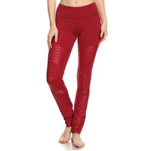 Electric Yoga Pants - SALE! Electric Yoga Motorcycle Pants - Burgundy
