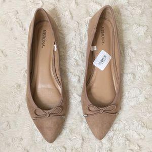 Merona Faux Suede Tan Nude Pointed Toe Flats 7.5