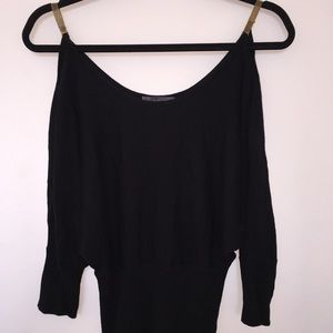 Batwing sweater with gold chain straps