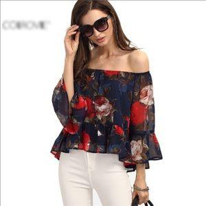 Tops - Fashion Style Multi-color Off-shoulder Floral Tops