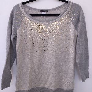 Gold sequined, scoop neck sweatshirt