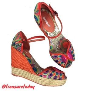 Desigual Shoes - Desigual Beautiful Colorful Platform Wedge Sandals