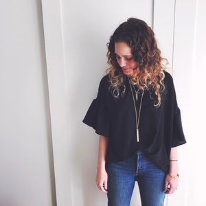 Boutique Tops - RESTOCKED! Black Ruffle Sleeve Blouse