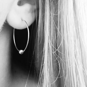 """925 Sterling silver ball 1"""" Hoops"""