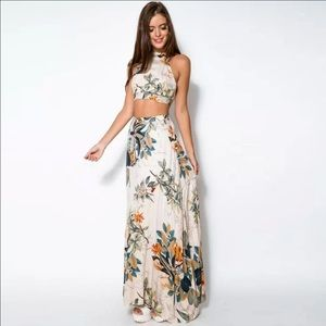 Dresses & Skirts - Maxi Sexy Cross Backless Floral Dress
