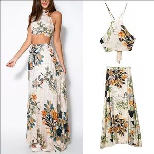 Dresses - Maxi Sexy Cross Backless Floral Dress