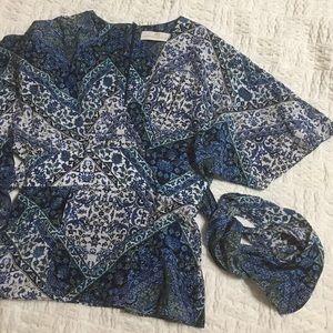 Amanda Uprichard Tops - Amanda Uprichard Silk Tie-front Floral Blouse