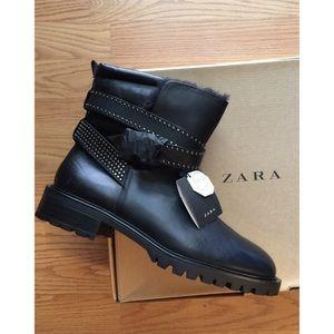 SALE- Zara Leather Fur Booties