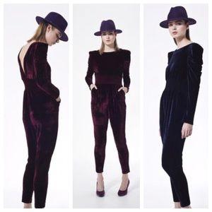 Elin Kling Pants - Elin Kling Black Faux Velvet Backless Tux Jumpsuit
