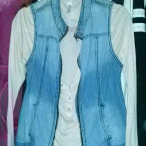 Jean moto vest with Victoria's secret henley