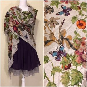 Fraas Accessories - NWOT Fraas Floral Butterfly Print Modal Scarf