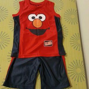 Sesame Street Other - 👕👖Sesame Street Elmo Red/Blue Shorts Set: 2T