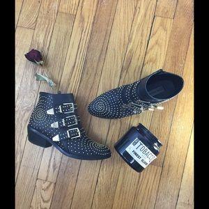 Steve Madden Shoes - Steve Madden Gold Stud Black Buckle Ankle Boot