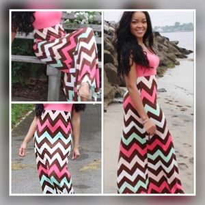 Dresses & Skirts - Chevron Striped Coral Rose Maxi Dress