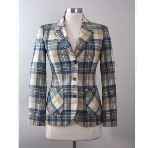 Pendleton Jackets & Blazers - Vtg 70s Pendleton Blue & Cream Plaid Wool Blazer