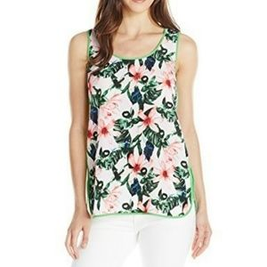 Vince Camuto Top Floral Sleeveless Sheer