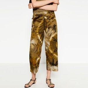 NWT Zara Tye-Dye Wide Cropped Trouser Pant Green M