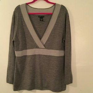 New York & Company Sweaters - Grey deep v-neck sweater XL
