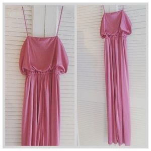 1970's Maxi Disco Dress, Pink, Spaghetti Straps