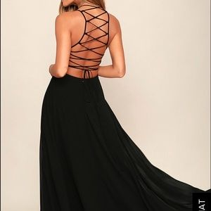 """Lulus """"Strappy to Be Here Black Maxi Dress"""""""