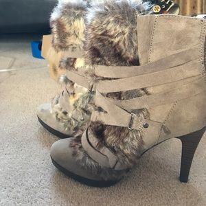 Faux fur stiletto boots