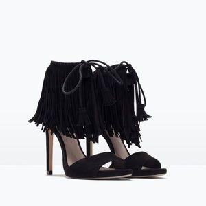 Zara Fringe Heeled Sandals