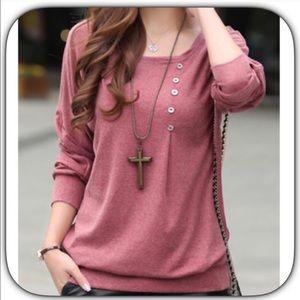 NWT Soft Salmon Pink Long Sleeve Button T-Shirt