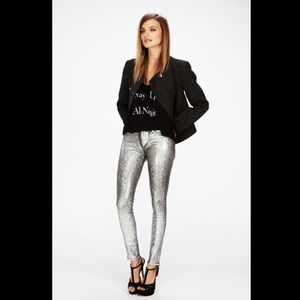 Wildfox Denim - Wildfox silver metallic skinny jeans