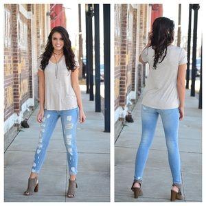 Denim - Light denim destroyed skinny jeans