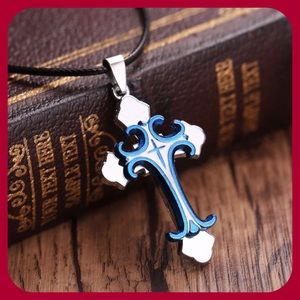 Other - Blue Stainless Steel Cross Necklace