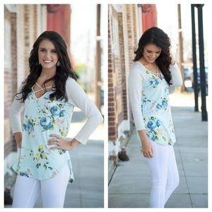 Infinity Raine Tops - Buttery Soft Floral Contrast Sleeve X neck tunic