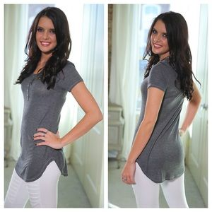 Infinity Raine Tops - Gray ribbed knit button trim tunic