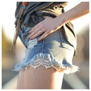 Pants - Lace trim cut off shorts