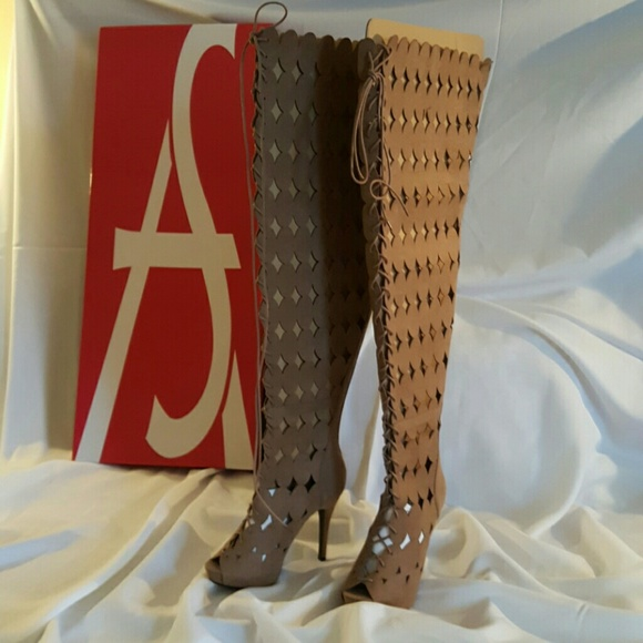 2a4d45839af Ashley Stewart Open Toe Thigh High Boots 8.5