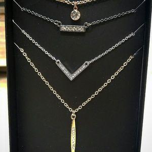 4 Chevron Bar Crystal Stone Pendant Necklaces