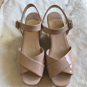 Authentic Prada wedge cork sandals
