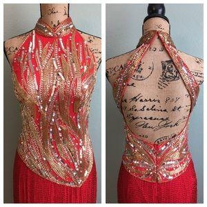 Oleg Cassini Dresses & Skirts - Oleg Cassini Black Tie size 6 red/gold dress!